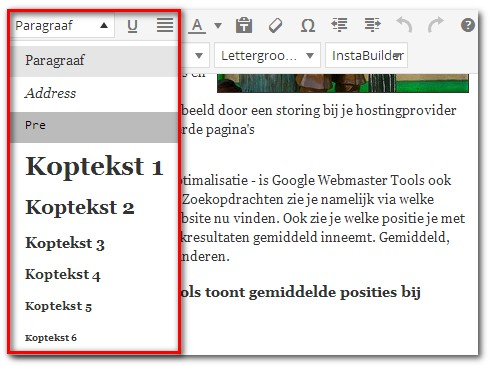 headings-opgeven-in-wordpress